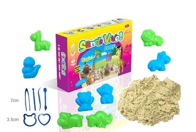 Kouzelný písek 300g / 750g - Kouzelný písek - 300 g - 6 ks zvířátek a 6 ks nářadí