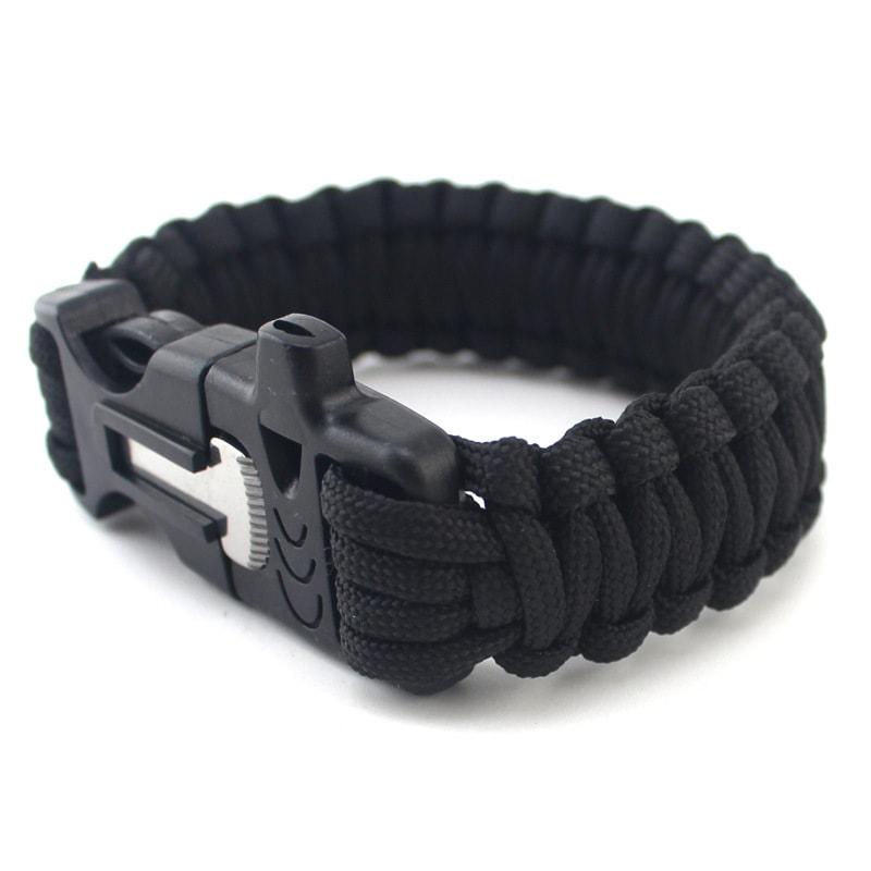 Survival náramek z padákové šňůry - Černá