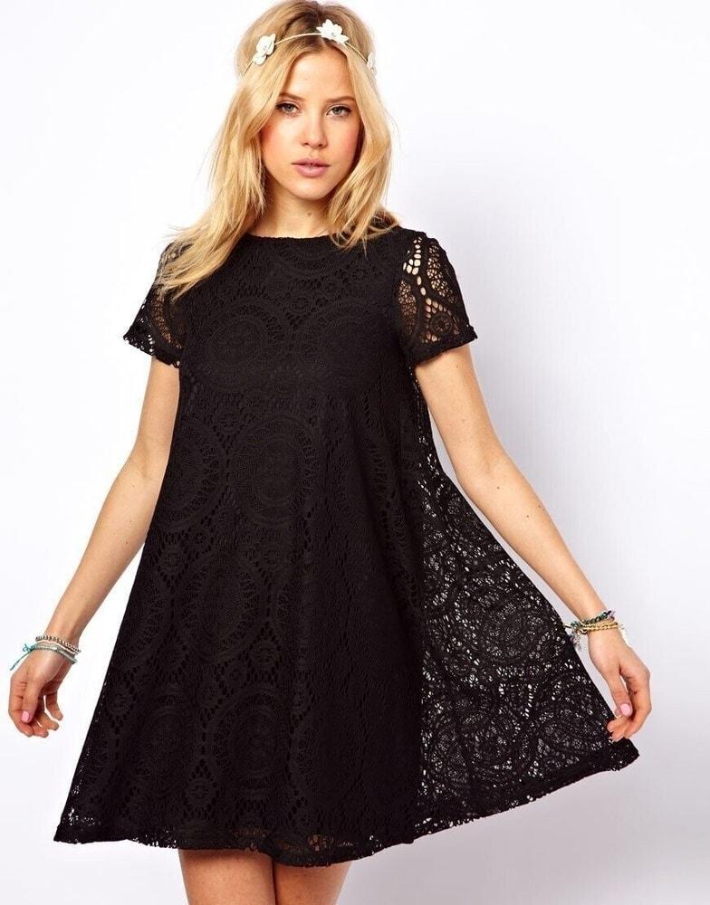 Krajkové šaty - černé - S