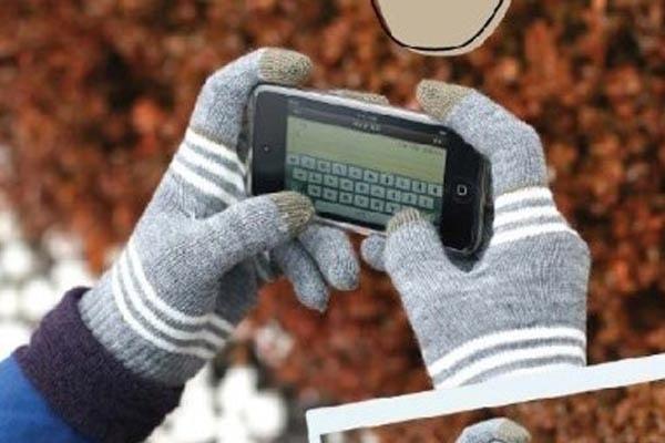 Rukavice pro dotykové telefony - Fialovobílá