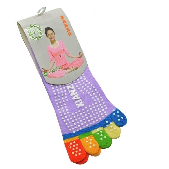 Protiskluzové prstové ponožky - Protiskluzové ponožky - fialová duha