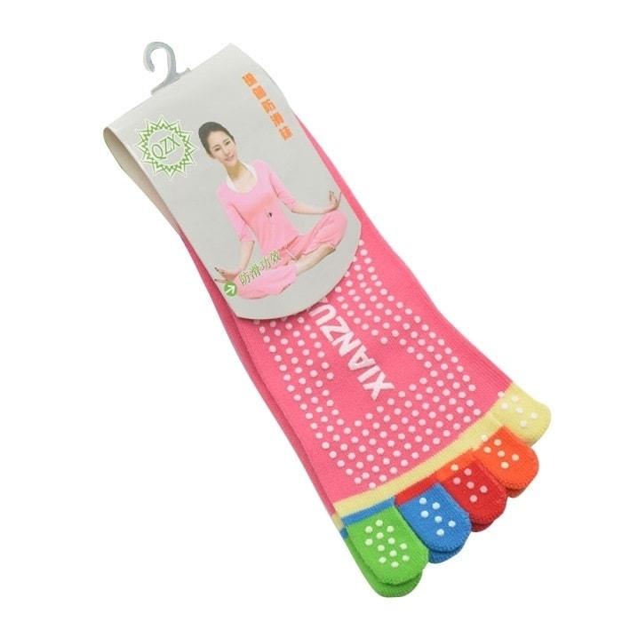 Protiskluzové prstové ponožky - Protiskluzové ponožky - růžová duha