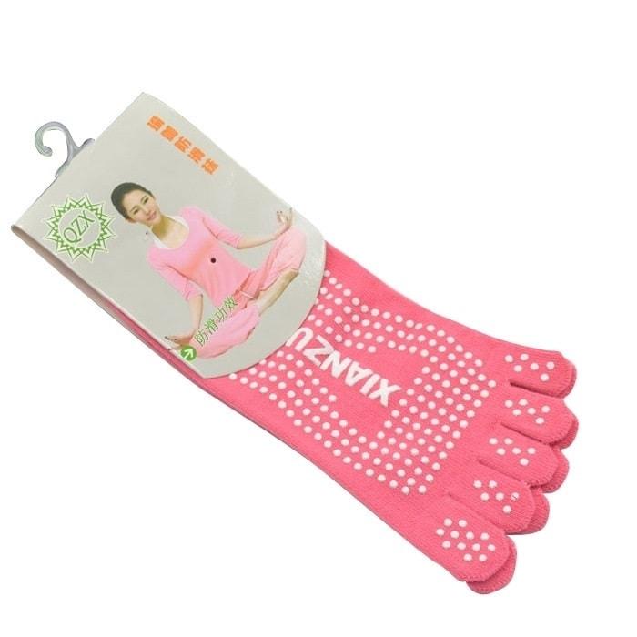 Protiskluzové prstové ponožky - Protiskluzové ponožky - růžové