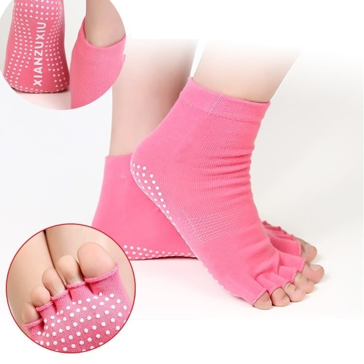 Protiskluzové prstové ponožky - Protiskluzové ponožky - světle růžová duha